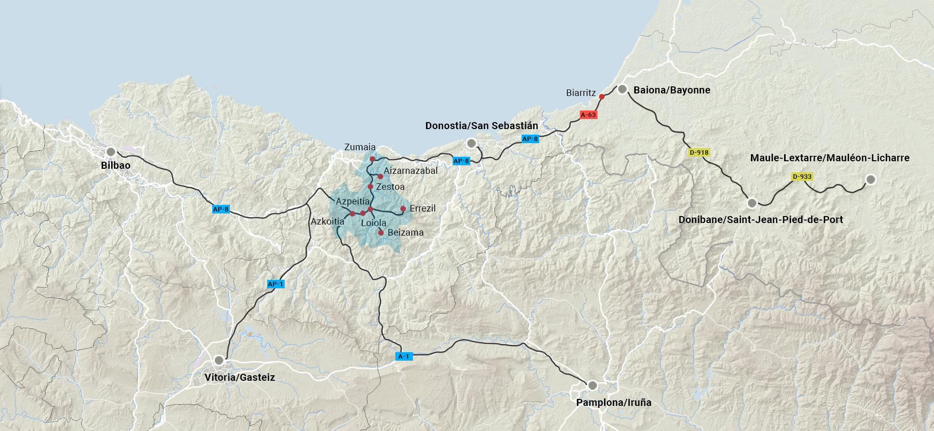 urola bailaren kokapenaren mapa - urolaturismoa